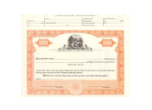 TONS -  8 1/2 x 11, Orange, Without Par Value, Ohio Seal Stock Certificate