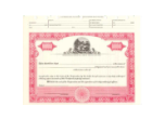 8 1/2 X 11, Red, Without Par Value, Ohio State Seal Stock Certificate