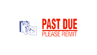 Past due stamp in red and blue ink by X-Stamper, 2 colors for added attention!, be impressed with the ease of stamping and the super impressions they make, re-ink indefinitely with X-Stamper ink, two color title stamps are a great value, stock stamps are