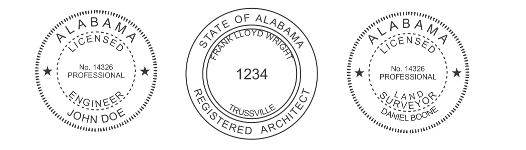 Alabama Engineer, Architect, Surveyor Embossing Seals and Stamps made for all 50 states.  Order ships next business day!    If you have questions about our products, please contact us at (216) 281-7792.  (M-F 9am to 5pm) We welcome your call!