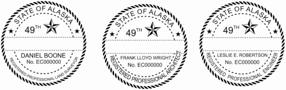 Alaska Engineer, Architect, Surveyor Embossing Seals and Stamps made for all 50 states.  Order ships next business day!    If you have questions about our products, please contact us at (216) 281-7792.  (M-F 9am to 5pm) We welcome your call!