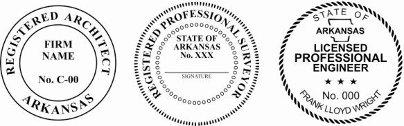 Arkansas Engineer, Architect, Surveyor Embossing Seals and Stamps made for all 50 states.  Order ships next business day!    If you have questions about our products, please contact us at (216) 281-7792.  (M-F 9am to 5pm) We welcome your call!