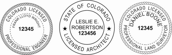 Colorado Engineer, Architect, Surveyor Embossing Seals and Stamps made for all 50 states.  Order ships next business day!    If you have questions about our products, please contact us at (216) 281-7792.  (M-F 9am to 5pm) We welcome your call!