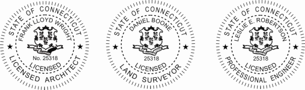 Connectiticut Engineer, Architect, Surveyor Embossing Seals and Stamps made for all 50 states.  Order ships next business day!    If you have questions about our products, please contact us at (216) 281-7792.  (M-F 9am to 5pm) We welcome your call!