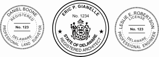 Delaware Engineer, Architect, Surveyor Embossing Seals and Stamps made for all 50 states.  Order ships next business day!    If you have questions about our products, please contact us at (216) 281-7792.  (M-F 9am to 5pm) We welcome your call!