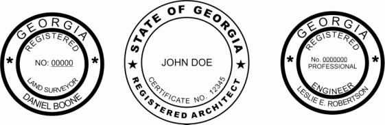 Georgia Engineer, Architect, Surveyor Embossing Seals and Stamps made for all 50 states.  Order ships next business day!    If you have questions about our products, please contact us at (216) 281-7792.  (M-F 9am to 5pm) We welcome your call!