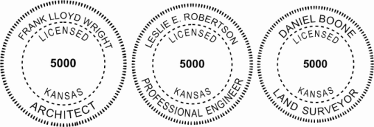Kansas Engineer, Architect, Surveyor Embossing Seals and Stamps made for all 50 states.  Order ships next business day!    If you have questions about our products, please contact us at (216) 281-7792.  (M-F 9am to 5pm) We welcome your call!