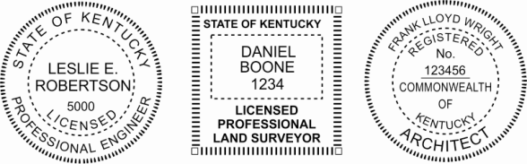 Kentucky Engineer, Architect, Surveyor Embossing Seals and Stamps made for all 50 states.  Order ships next business day!