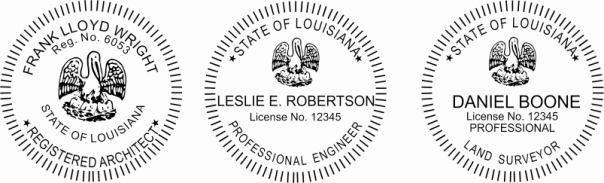Louisiana Engineer, Architect, Surveyor Embossing Seals and Stamps made for all 50 states.  Order ships next business day!    If you have questions about our products, please contact us at (216) 281-7792.  (M-F 9am to 5pm) We welcome your call!