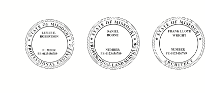Missouri Engineer, Architect, Surveyor Embossing Seals and Stamps made for all 50 states.  Order ships next business day!    If you have questions about our products, please contact us at (216) 281-7792.  (M-F 9am to 5pm) We welcome your call!