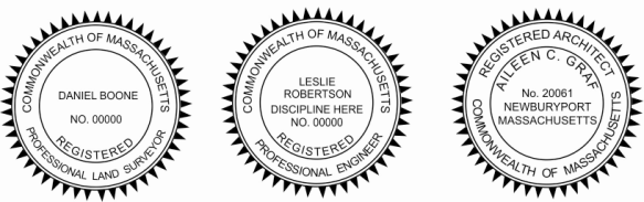 Massachusetts Engineer, Architect, Surveyor Embossing Seals and Stamps made for all 50 states.  Order ships next business day!    If you have questions about our products, please contact us at (216) 281-7792.  (M-F 9am to 5pm) We welcome your call!