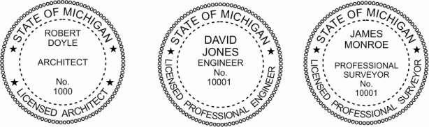 Michigan Engineer, Architect, Surveyor Embossing Seals and Stamps made for all 50 states.  Order ships next business day!