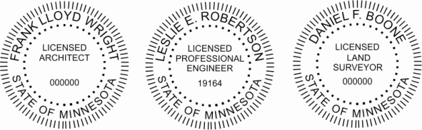 Minnesota Engineer, Architect, Surveyor Embossing Seals and Stamps made for all 50 states.  Order ships next business day!    If you have questions about our products, please contact us at (216) 281-7792.  (M-F 9am to 5pm) We welcome your call!