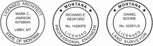 Montana Engineer, Architect, Surveyor Embossing Seals and Stamps made for all 50 states.  Order ships next business day!