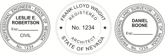 Nevada Engineer, Architect, Surveyor Embossing Seals and Stamps made for all 50 states.  Order ships next business day!    If you have questions about our products, please contact us at (216) 281-7792.  (M-F 9am to 5pm) We welcome your call!