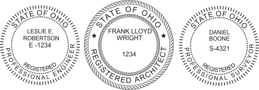 Ohio Engineer, Architect, Surveyor Embossing Seals and Stamps made for all 50 states.  Order ships next business day!