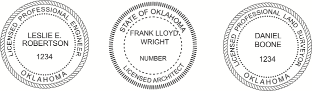 Oklahoma Engineer, Architect, Surveyor Embossing Seals and Stamps made for all 50 states.  Order ships next business day!    If you have questions about our products, please contact us at (216) 281-7792.  (M-F 9am to 5pm) We welcome your call!