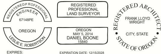 Oregon Engineer, Architect, Surveyor Embossing Seals and Stamps made for all 50 states.  Order ships next business day!    If you have questions about our products, please contact us at (216) 281-7792.  (M-F 9am to 5pm) We welcome your call!
