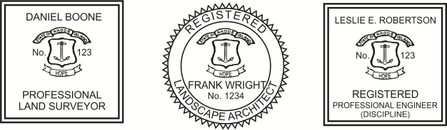 Rhode Island Engineer, Architect, Surveyor Embossing Seals and Stamps made for all 50 states.  Order ships next business day!    If you have questions about our products, please contact us at (216) 281-7792.  (M-F 9am to 5pm) We welcome your call!