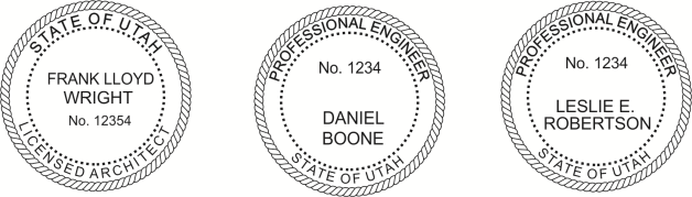 Utah Engineer, Architect, Surveyor Embossing Seals and Stamps made for all 50 states.  Order ships next business day!    If you have questions about our products, please contact us at (216) 281-7792.  (M-F 9am to 5pm) We welcome your call!