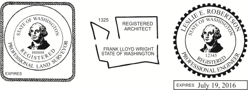 Washington Engineer, Architect, Surveyor Embossing Seals and Stamps made for all 50 states.  Order ships next business day!