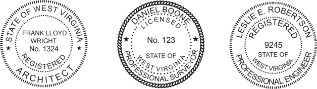 West Virginia Engineer, Architect, Surveyor Embossing Seals and Stamps made for all 50 states.  Order ships next business day!    If you have questions about our products, please contact us at (216) 281-7792.  (M-F 9am to 5pm) We welcome your call!