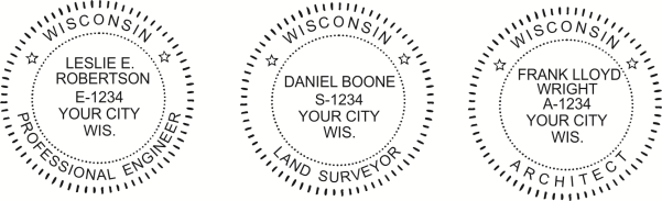 Wisconsin Engineer, Architect, Surveyor Embossing Seals and Stamps made for all 50 states.  Order ships next business day!