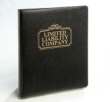 """Limited Liability Company Black Leatherette Binder.  This high quality """"turned edge"""" binder ships the same business day! (216) 281-7792"""
