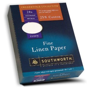 Southworth Fine Linen Paper 25 Cotton Size 24 Ivory
