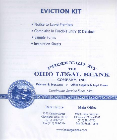 Form EKOHIO Eviction Kit For The State Of Ohio - Ohio legal forms